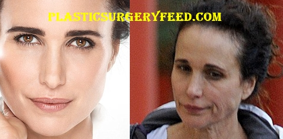 Andie MacDowell With and Without Make Up